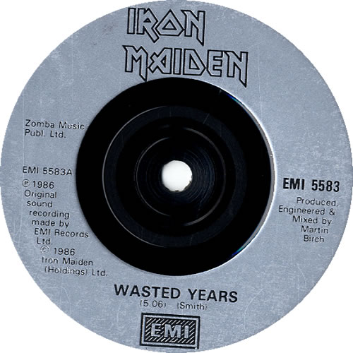 "Iron Maiden Wasted Years -Injection + Sleeve 7"" vinyl single (7 inch record) UK IRO07WA595789"