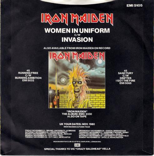 "Iron Maiden Women In Uniform - P/S 7"" vinyl single (7 inch record) UK IRO07WO588537"