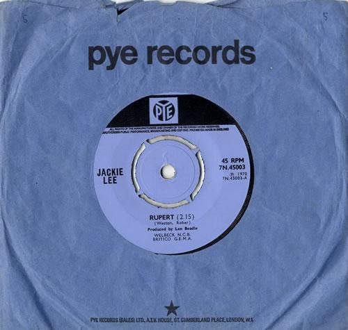 """Jackie Lee Rupert 7"""" vinyl single (7 inch record) UK J8C07RU591508"""