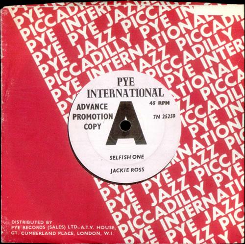 "Jackie Ross Selfish One 7"" vinyl single (7 inch record) UK J3C07SE517187"