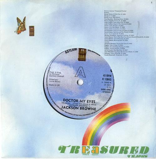 "Jackson Browne Doctor My Eyes 7"" vinyl single (7 inch record) UK JKB07DO604160"