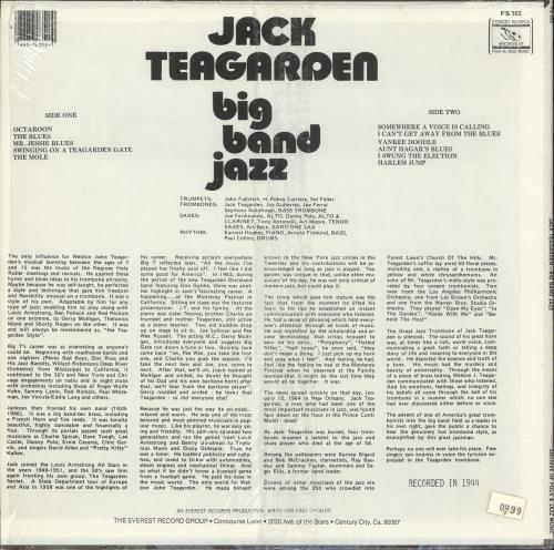 Jack Teagarden Big Band Jazz vinyl LP album (LP record) US JTGLPBI723568