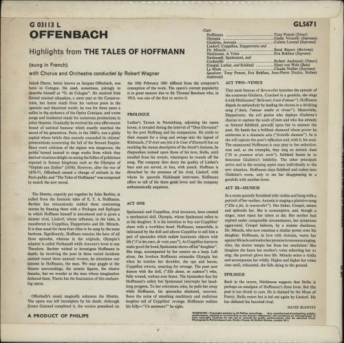 Jacques Offenbach Highlight From The Tales Of Hoffman vinyl LP album (LP record) UK J4GLPHI763592