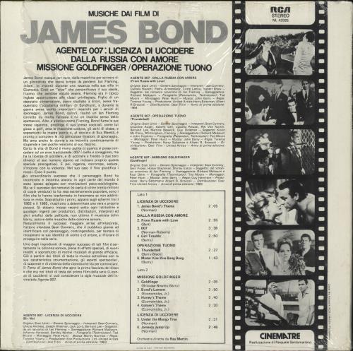 James Bond Musiche Dai Film Di James Bond - shrink vinyl LP album (LP record) Italian JBDLPMU728867