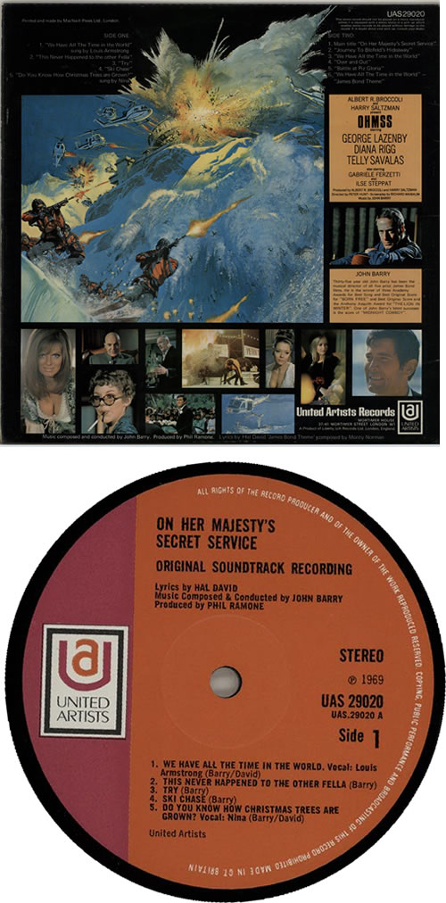 James Bond On Her Majesty's Secret Service vinyl LP album (LP record) UK JBDLPON567603