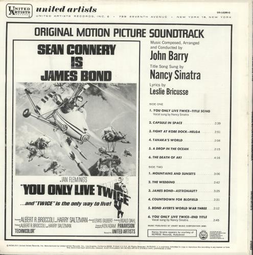 James Bond You Only Live Twice vinyl LP album (LP record) US JBDLPYO728856