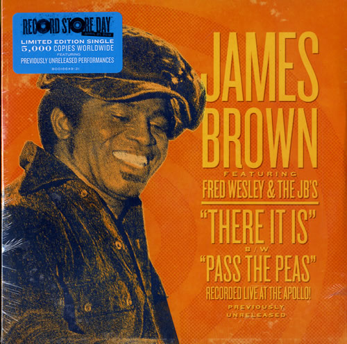 "James Brown There It Is / Pass The Peas - Live 7"" vinyl single (7 inch record) US JMB07TH577579"