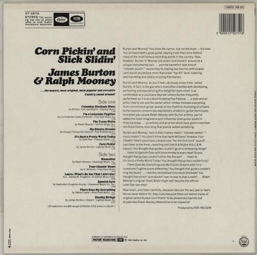 James Burton Corn Pickin' And Slick Slidin' vinyl LP album (LP record) French K4YLPCO764228