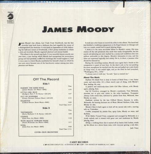 James Moody James Moody vinyl LP album (LP record) US JM5LPJA748103