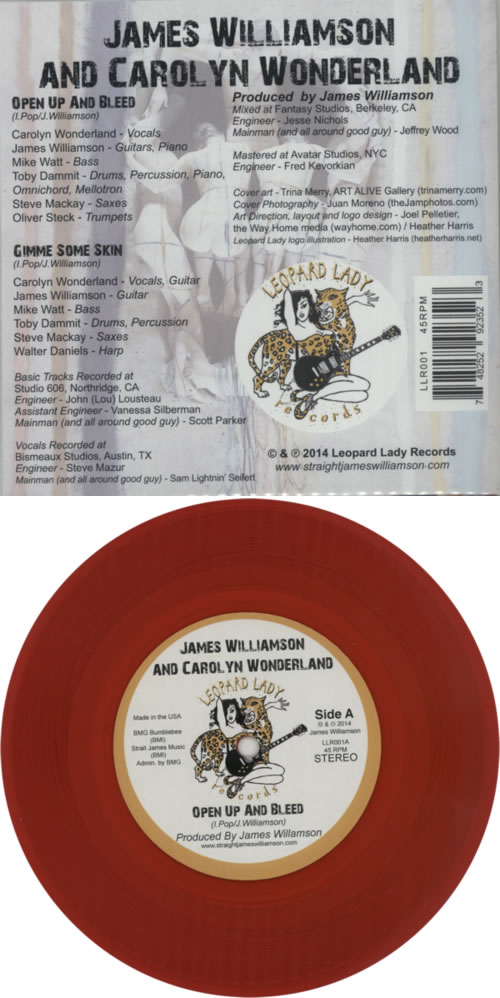 "James Williamson Open Up And Bleed - Red Vinyl - RSD 7"" vinyl single (7 inch record) UK KX707OP602831"
