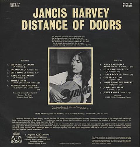 Jancis Harvey Distance Of Doors - Autographed vinyl LP album (LP record) UK JCILPDI306025