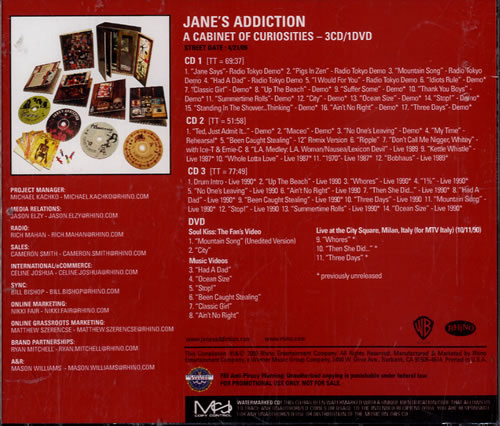 Janes Addiction A Cabinet Of Curiosities CD-R acetate US JANCRAC478031