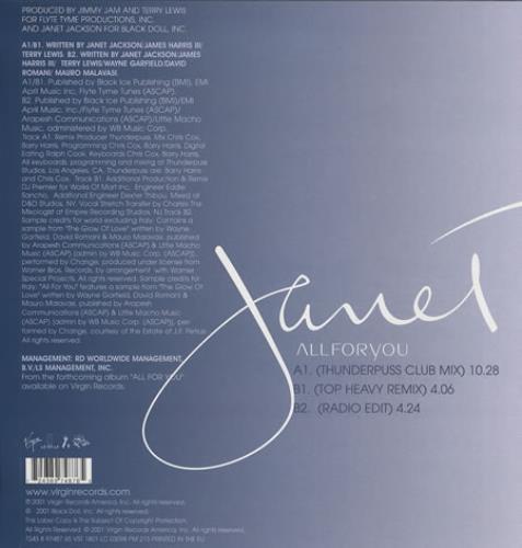 "Janet Jackson All For You 12"" vinyl single (12 inch record / Maxi-single) UK J-J12AL181544"