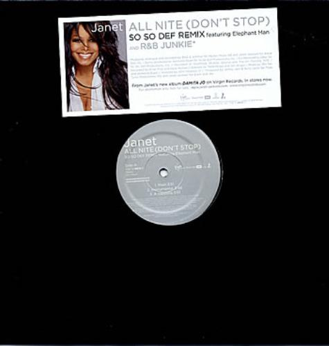 "Janet Jackson All Nite (Don't Stop) - So So Def Remix 12"" vinyl single (12 inch record / Maxi-single) US J-J12AL291934"