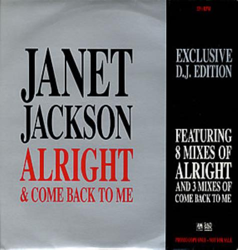 "Janet Jackson Alright + Come Back To Me 12"" vinyl single (12 inch record / Maxi-single) UK J-J12AL04817"