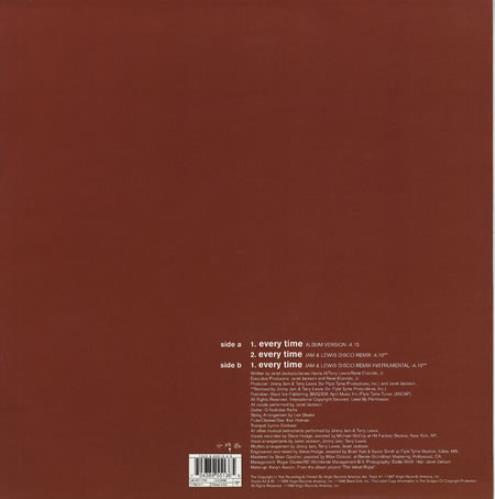 "Janet Jackson Everytime 12"" vinyl single (12 inch record / Maxi-single) European J-J12EV192774"