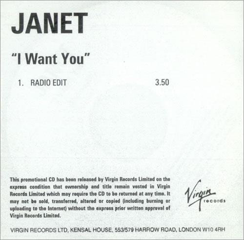 Janet Jackson I Want You CD-R acetate UK J-JCRIW516892