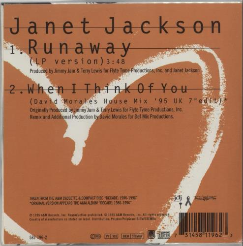 "Janet Jackson Runaway CD single (CD5 / 5"") French J-JC5RU55775"