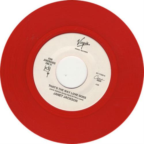 "Janet Jackson That's The Way Love Goes - Red Vinyl 7"" vinyl single (7 inch record) US J-J07TH18767"