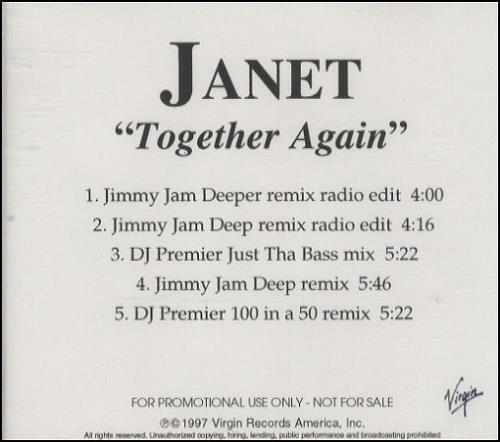 Janet Jackson Together Again - 5-trk US Promo CD-R acetate
