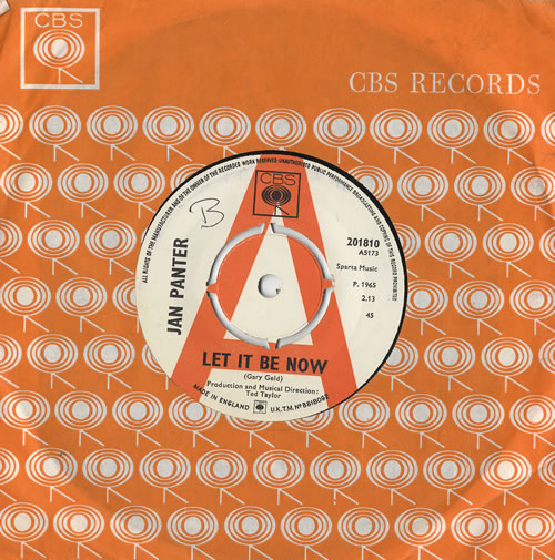 """Jan Panter Let It Be Now / Stand By And Cry + Press Sheet 7"""" vinyl single (7 inch record) UK 8JP07LE468269"""