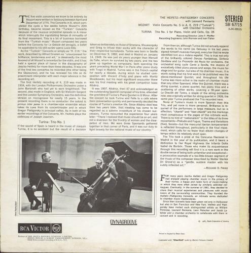 Jascha Heifetz & Gregor Piatigorsky The Heifetz-Piatigorsky Concerts vinyl LP album (LP record) UK 3K9LPTH769388