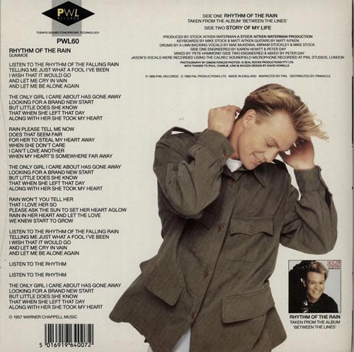 "Jason Donovan Rhythm Of The Rain 7"" vinyl single (7 inch record) UK DON07RH581693"