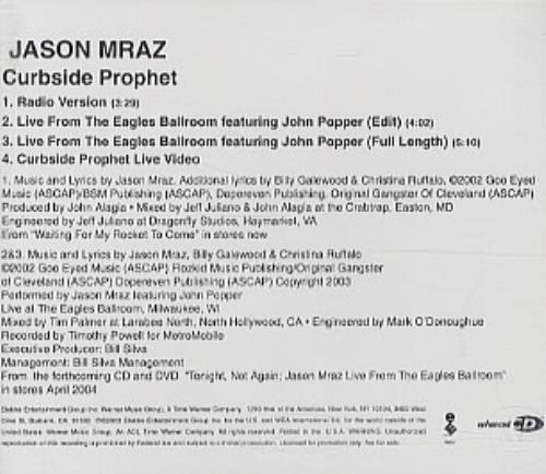 """Jason Mraz Curbside Prophet CD single (CD5 / 5"""") US JA8C5CU319642"""