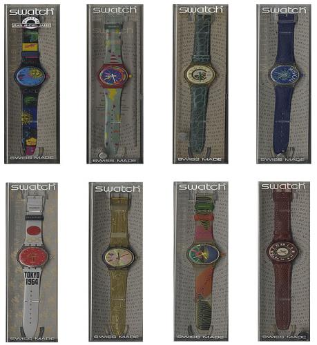 Jean-Michel Jarre Set Of Eight Limited Edition Swatch Wristwatches memorabilia Swiss JMJMMSE491737
