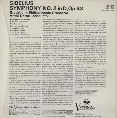 Jean Sibelius Sibelius: Symphony No. 2 vinyl LP album (LP record) German SE3LPSI759036
