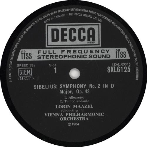 Jean Sibelius Symphony No. 2 vinyl LP album (LP record) UK SE3LPSY724126