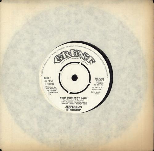 """Jefferson Starship Find Your Way Back 7"""" vinyl single (7 inch record) UK JFS07FI701622"""