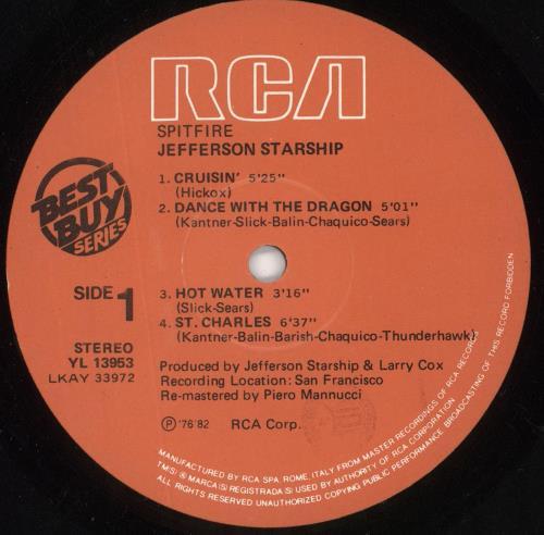 Jefferson Starship Spitfire vinyl LP album (LP record) Italian JFSLPSP724431