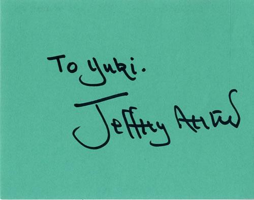 Jeffrey Archer Page From An Autograph Book memorabilia UK KXFMMPA601660