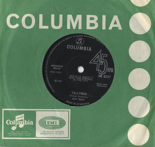 "Jeff Beck Tallyman - Solid 7"" vinyl single (7 inch record) UK BEK07TA445144"