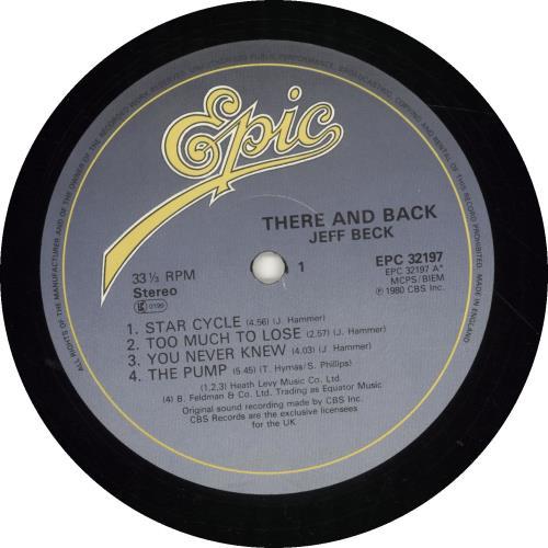 Jeff Beck There And Back vinyl LP album (LP record) UK BEKLPTH546921