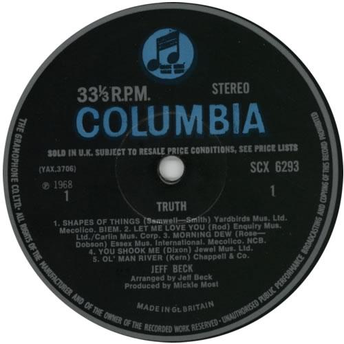 Jeff Beck Truth - 1st vinyl LP album (LP record) UK BEKLPTR226948