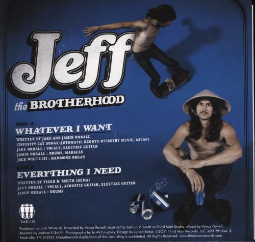 """Jeff The Brotherhood Whatever I Want 7"""" vinyl single (7 inch record) US O8F07WH768666"""