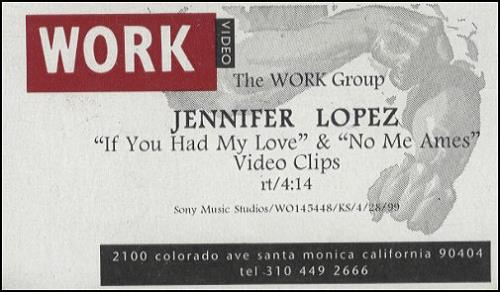 Jennifer Lopez If You Had My Love & No Me Ames video (VHS or PAL or NTSC) US LPZVIIF194637