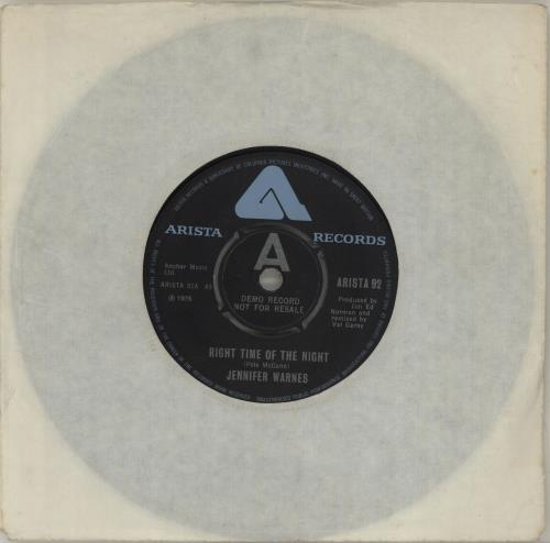 "Jennifer Warnes Right Time Of The Night - A Label 7"" vinyl single (7 inch record) UK JEN07RI687516"