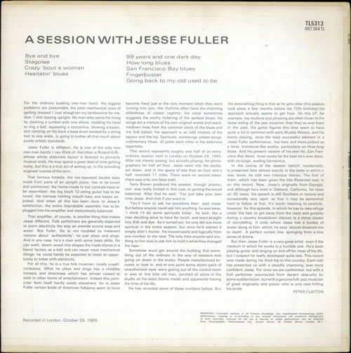 Jesse Fuller A Session With Jesse Fuller vinyl LP album (LP record) UK JLRLPAS527855