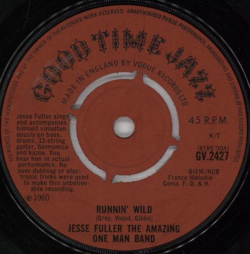 "Jesse Fuller Runnin' Wild 7"" vinyl single (7 inch record) UK JLR07RU772190"