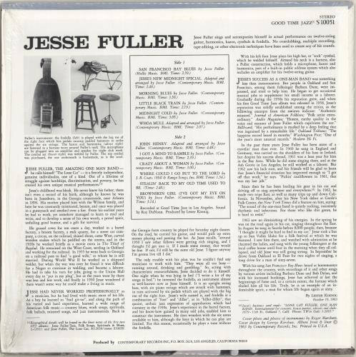 Jesse Fuller San Francisco Bay Blues vinyl LP album (LP record) US JLRLPSA693755