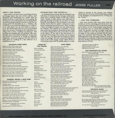 "Jesse Fuller Working On The Railroad - Mislabelled 10"" vinyl single (10"" record) UK JLR10WO763906"