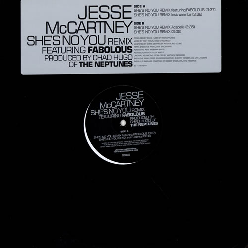 "Jesse McCartney She's No You Remix 12"" vinyl single (12 inch record / Maxi-single) US JEC12SH473903"