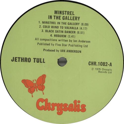 Jethro Tull Minstrel In The Gallery - 1st - VG vinyl LP album (LP record) UK TULLPMI693401