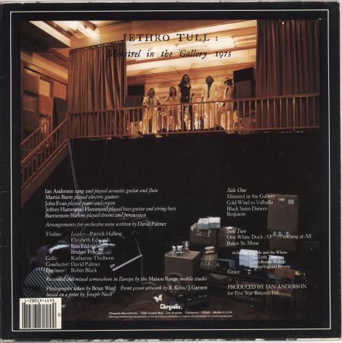 Jethro Tull Minstrel In The Gallery vinyl LP album (LP record) US TULLPMI732912