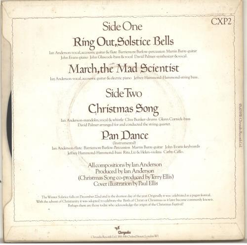 "Jethro Tull Ring Out Solstice Bells EP - P/S 7"" vinyl single (7 inch record) UK TUL07RI51415"