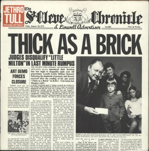 Jethro Tull Thick As A Brick - 1st - EX vinyl LP album (LP record) UK TULLPTH567628