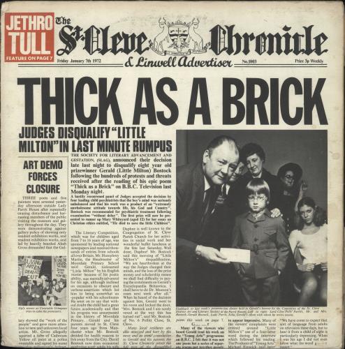 Jethro Tull Thick As A Brick - 1st - VG vinyl LP album (LP record) UK TULLPTH606552